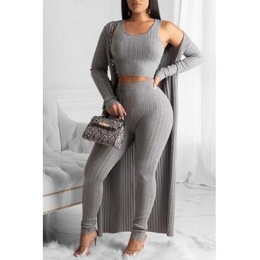 Lovely Trendy Basic Skinny Grey Three-piece Pants Set