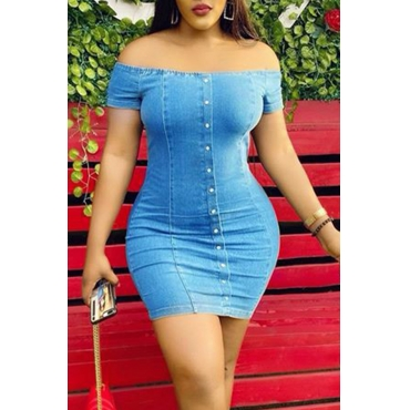 Lovely Chic Button Design Blue Mini Dress