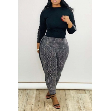 Lovely Casual Basic Skinny Black Two-piece Pants Set