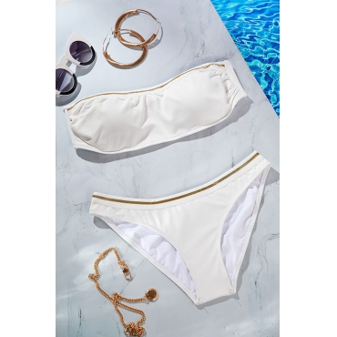 Lovely Striped White Two-piece Swimsuit