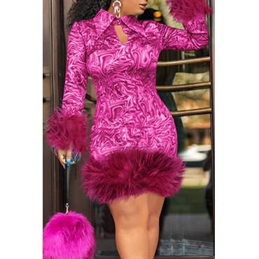 Lovely Chic Turndown Collar Patchwork Rose Red Knee Length Prom Dress