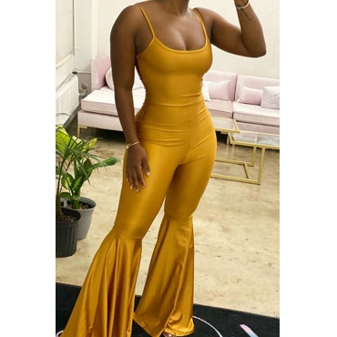Lovely Chic Ruffle Design Yellow One-piece Jumpsuit