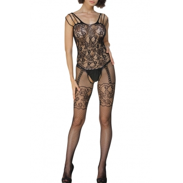 Lovely Sexy Floral Hollow-out Black Bodystocking