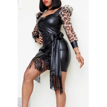 Lovely Chic Patchwork Tassel Design Black Mini Dress