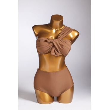 Lovely One Shoulder Brown Two-piece Swimsuit