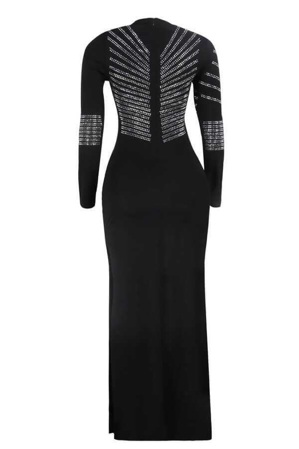 Lovely Party Patchwork Black Maxi Dress