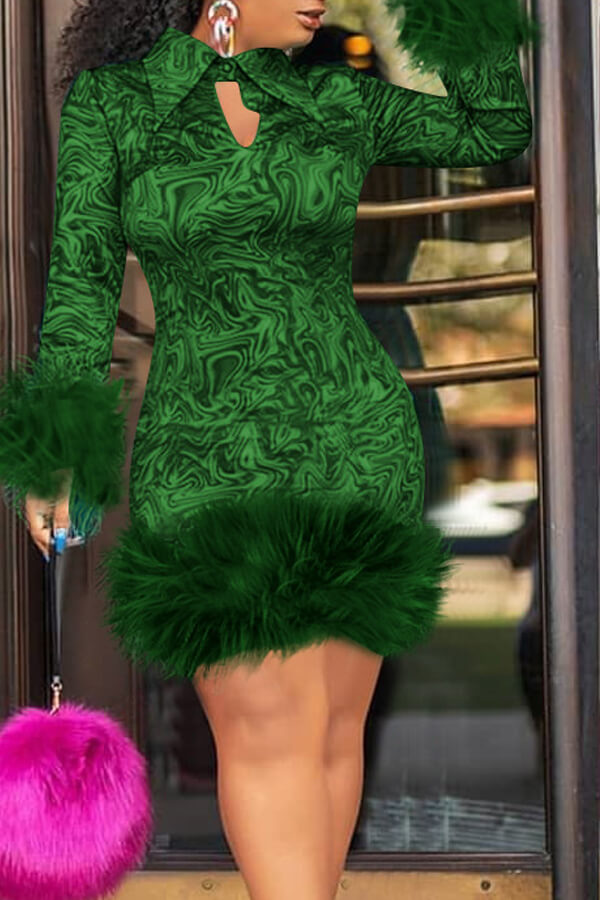 Lovely Chic Turndown Collar Patchwork Green Knee Length Prom Dress