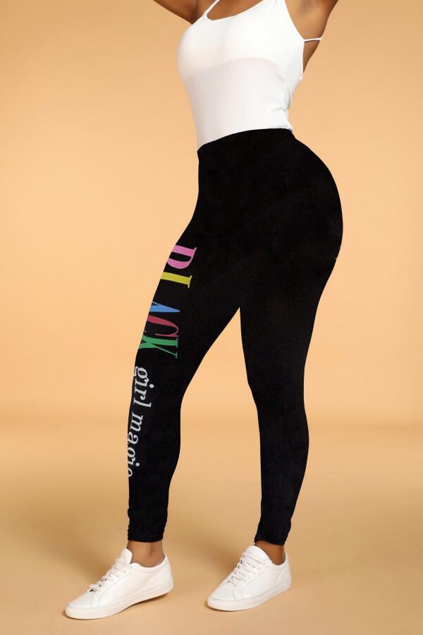 Lovely Polyester Casual Letter Skinny Mid Leggings