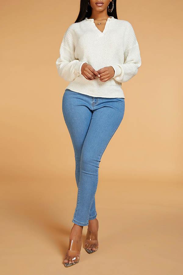 Lovely Leisure V Neck Basic Beige Sweater