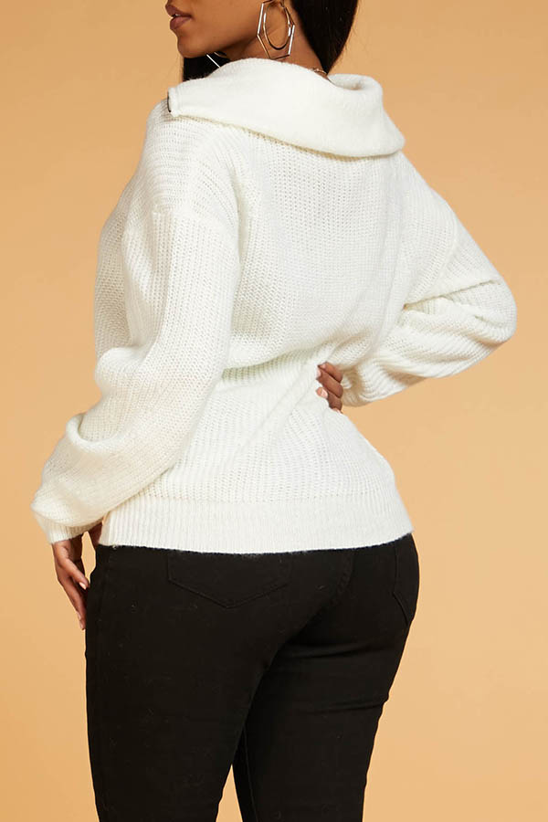 Lovely Chic Zipper Design White Sweater