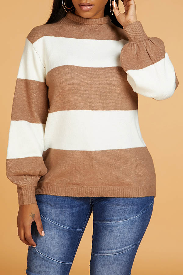 Lovely Casual Striped Patchwork Coffee Sweater