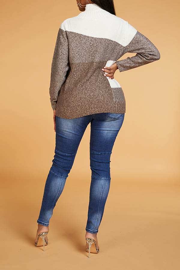 Lovely Chic Patchwork Brown Sweater