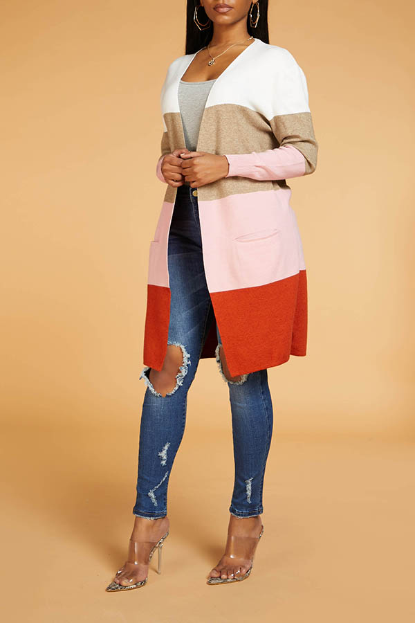 Lovely Chic Color-lump Patchwork Multicolor Cardigan