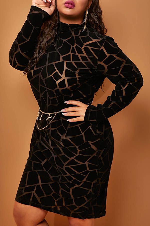 Lovely Sexy O Neck Print Black Mid Calf Plus Size Dress