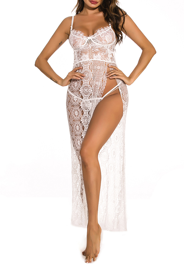 Lovely Sexy Lace See-through White Gowns