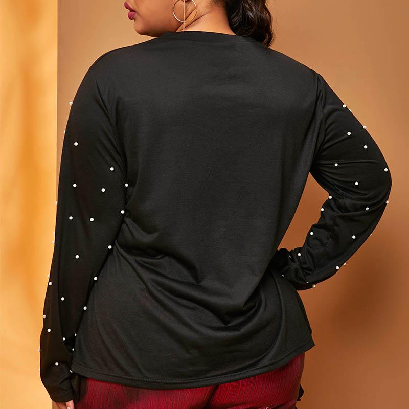 Lovely Casual Lip Print Black Plus Size T-shirt