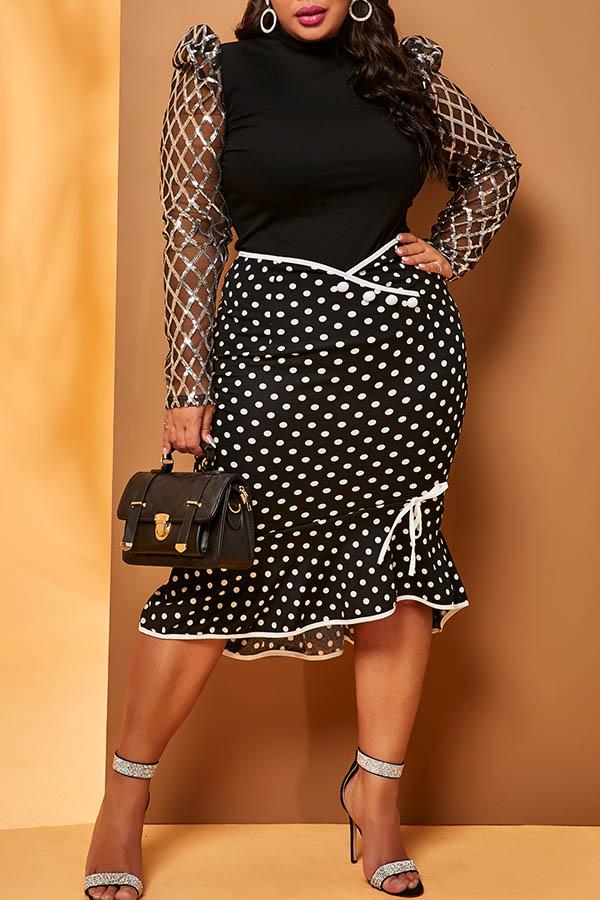 Lovely Casual Dot Black Plus Size Skirt