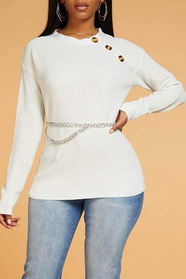 Lovely Casual Button White Sweater