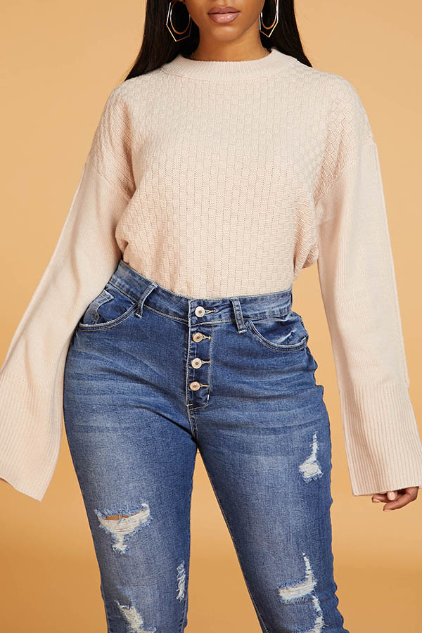 Lovely Casual Basic Dusty Pink Sweater