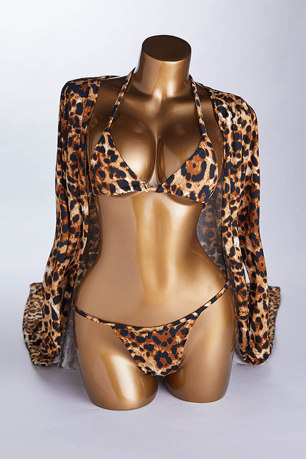 Lovely Sexy Spaghetti Strap Leopard Two-piece Swimsuit(With Cover-up)