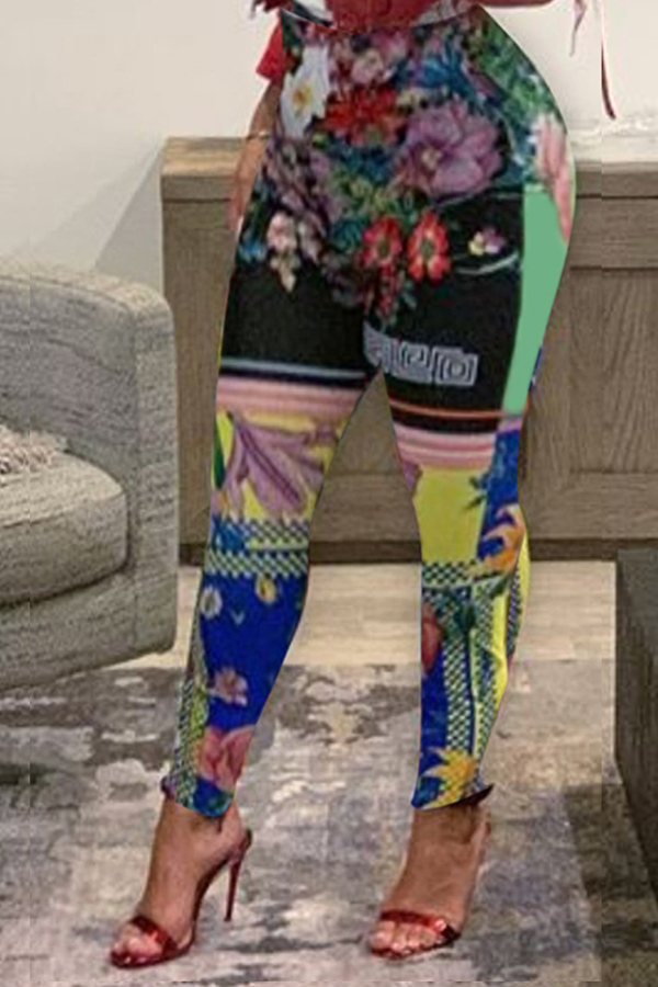 Lovely Chic Print Multicolor Pants