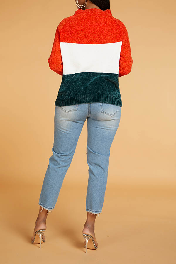 Lovely Chic Color-lump Patchwork Multicolor Sweater