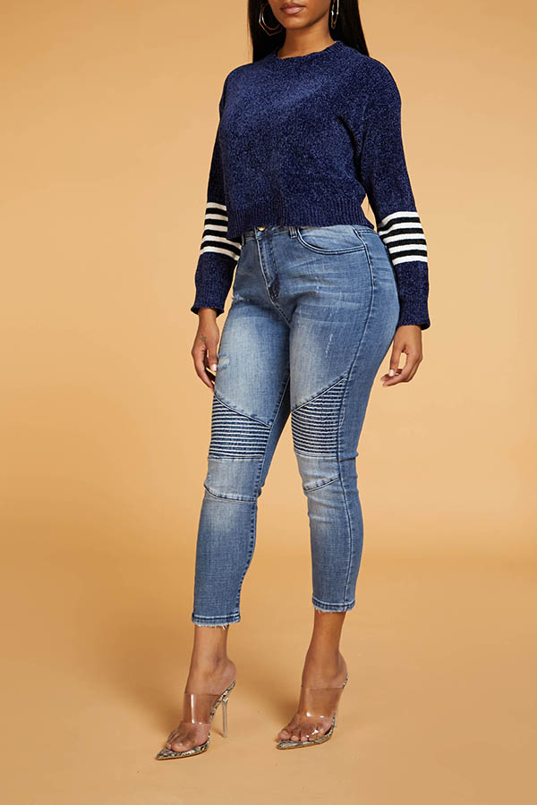 Lovely Chic Striped Deep Blue Sweater