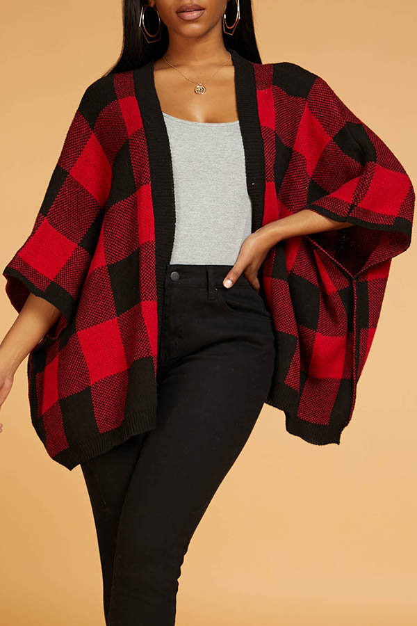 Lovely Casual Plaid Red Cardigan