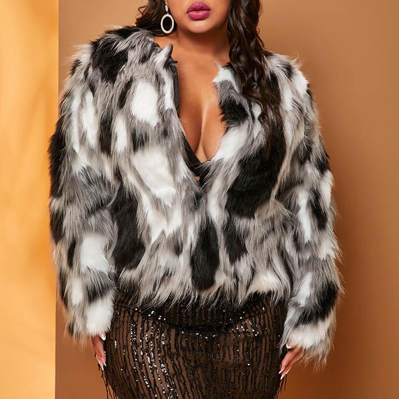 Lovely Trendy Patchwork White Plus Size Short Coat