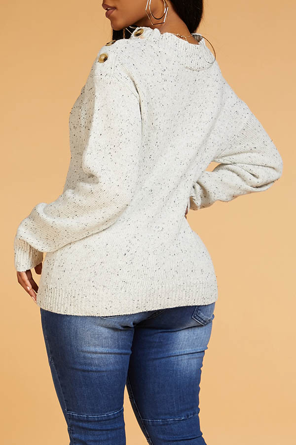 Lovely Casual Basic Grey Sweater