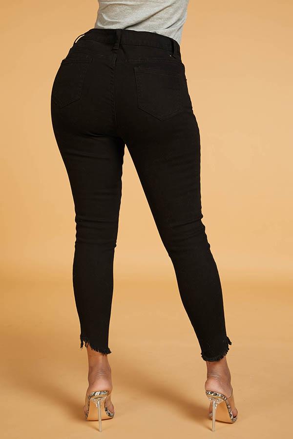 Lovely Chic Slit Basic Black Jeans
