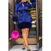 Lovely Chic Turndown Collar Patchwork Dark Blue  K