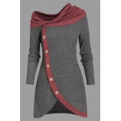 Lovely Casual Patchwork Grey Knee Length Plus Size