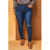 Lovely Chic Skinny Blue Plus Size Jeans