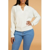 Lovely Leisure V Neck Basic Beige Sweater