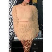 Lovely Casual Tassel Design Khaki Two-piece Skirt Set