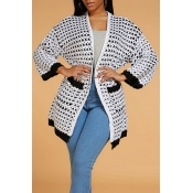 Lovely Casual Print White Cardigan