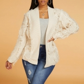 Lovely Sweet Tassel Design Apricot Cardigan