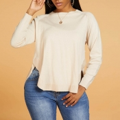 Lovely Casual O Neck Loose Apricot Sweater