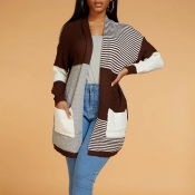 Lovely Chic Patchwork Coffee Cardigan