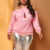 Lovely Casual Cross-over Design Pink Plus Size Swe