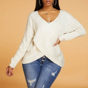 Lovely Casual Cross-over Design Apricot Sweater