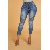 Lovely Chic Ruffle Design Blue Jeans