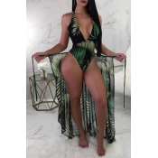 Lovely Sexy Print Blackish Green One-piece Swimsui