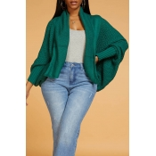 Lovely Casual Hollow-out Green Cardigan