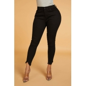 Lovely Chic Slit Basic Black Jeans