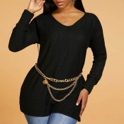 Lovely Casual O Neck Black Sweater