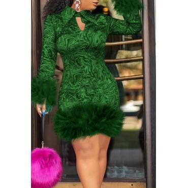 Lovely Chic Turndown Collar Patchwork Green Knee Length Prom Dress