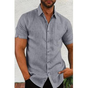 Lovely Casual Turndown Collar Short Sleeve Basic Grey Shirt
