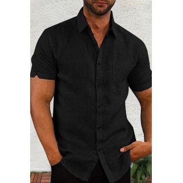 Lovely Casual Turndown Collar Short Sleeve Basic Black  Shirt